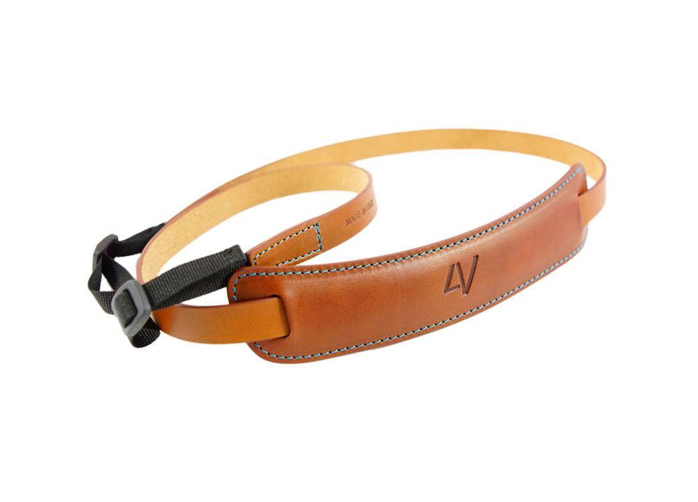 Afbeelding van 4V Design Classic Medium Neck Strap Tuscany Leather Brown/Cyan