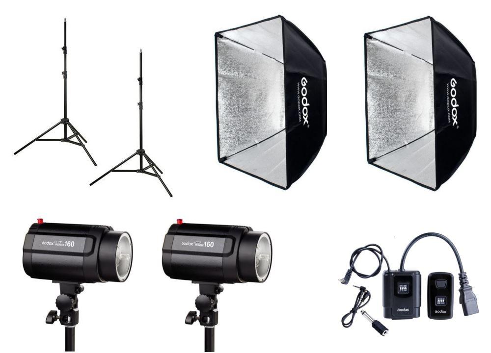 Godox Mini Pioneer 160 Watt Softbox 60x60 Duo Kit