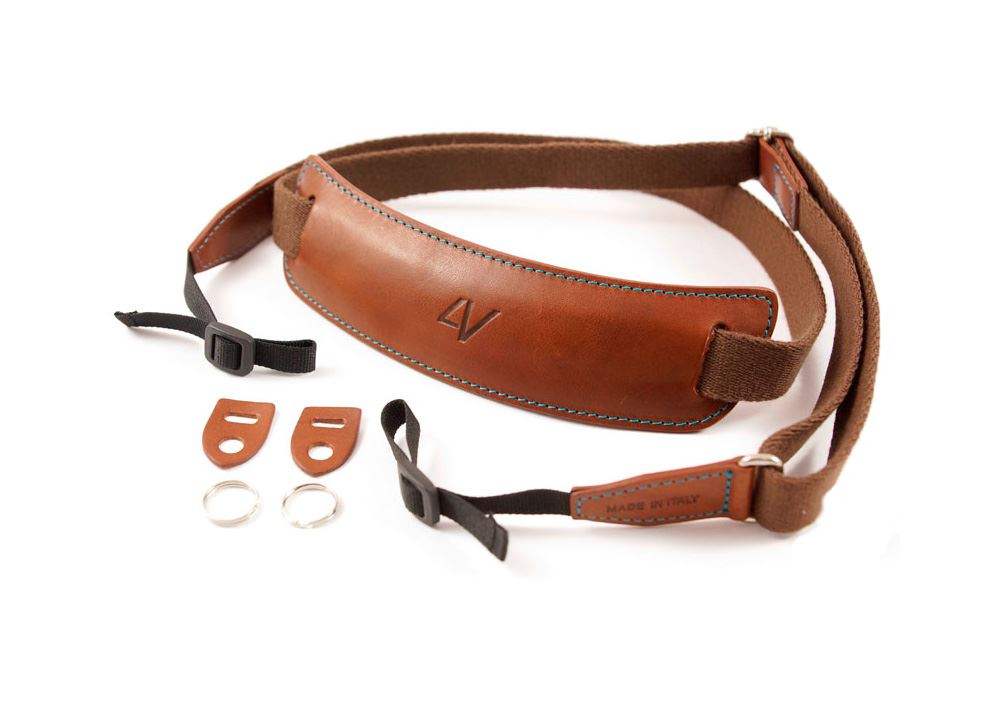 Afbeelding van 4V Design Lusso Large Draagriem Tuscany Leather Brown/Cyan