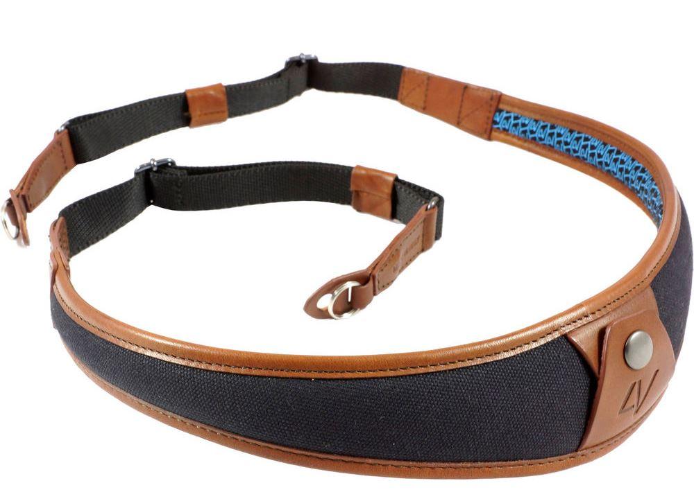 Afbeelding van 4V Design ALA Neck Strap Metal Ring Black/Brown