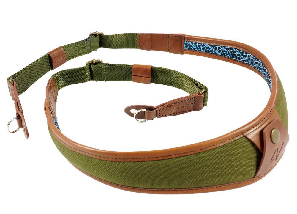Afbeelding van 4V Design ALA Neck Strap Metal Ring Green/Brown