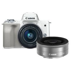 Canon EOS M50 Wit + 15-45mm IS STM + 22mm STM