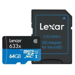 Lexar MicroSDXC High-Performance 64GB UHS-I 633x + SD Adapter
