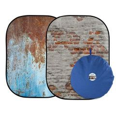 Lastolite Urban Collapsible 150x210cm  - Rusty Metal/Plaster Wall