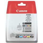 Canon PGI-580 Zwart + CLI-581 Zwart + 3 kleuren SEC