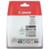 Canon PGI-580 Zwart + CLI-581 Zwart + 3 kleuren