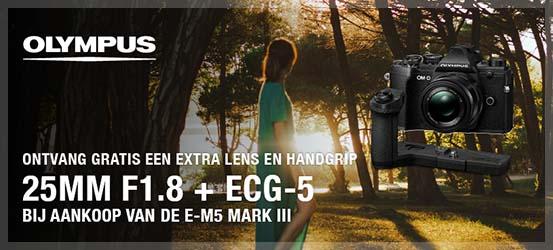 Gratis lens en grip bij de E-M5 Mark III