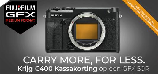 €400 kassakorting op de Fujifilm GFX 50R!