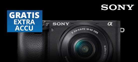 Gratis extra accu bij aankoop Sony A6400 + 16-50mm