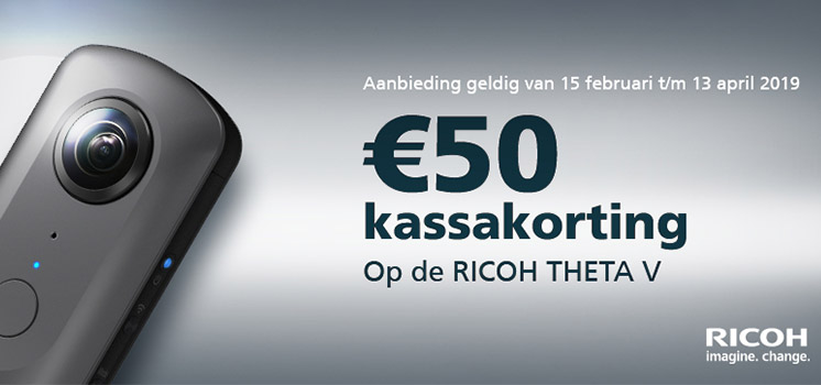 Ricoh Theta, 360 graden action cam met €50,- Kassakorting