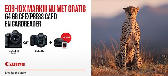 Canon EOS 1Dx Mark III or R5 - Nu met gratis CFExpress card 64GB + CF Cardreader