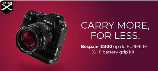 €300 kassakorting op een Fujifilm X-H1 + VPB-XH1 Batterygrip + 2x accu