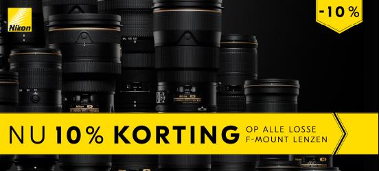 10% korting op alle Nikon F-mount lenzen