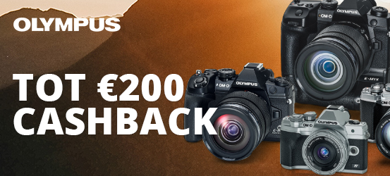 Tot €200 cashback op diverse Olympus camera's!