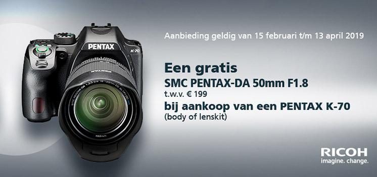 Gratis 50mm F/1.8 bij aankoop van een Pentax K-70
