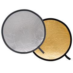 Delamax 2 in 1 reflectiescherm rond 55cm goud/zilver