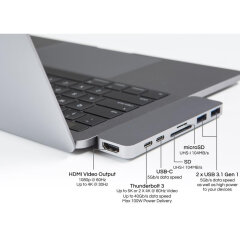 Hyper USB-C Adapter with Thunderbolt 3 Space Gray (GN28B)