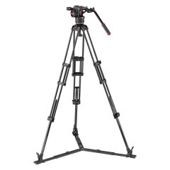Manfrotto Nitrotech N8 video head w/CF Twin leg tripod GS 100/75mm