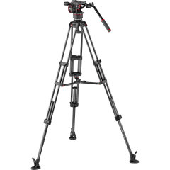 Manfrotto Nitrotech N8 Head & Carbon Fibre Twin Leg Video Tripod Kit with Mid-Level Spreader