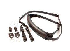 4V Design Lusso Slim Neck Strap Tuscany Leer - Black/Cyan