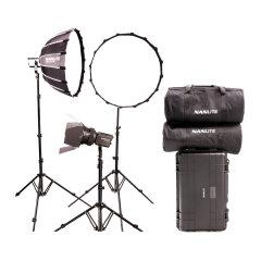 Nanlite Forza 60 LED tripple kit met lightstand, softbox, fresnel en koffer