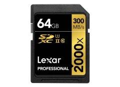 Lexar SDXC Pro 2000x UHS-II 300MB/s - 64GB