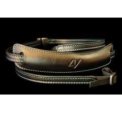 4V Design Lusso Medium Neck Strap Tuscany Leer - Black/Cyan