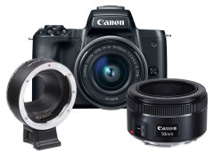Canon EOS M50 Zwart + 15-45mm IS STM + 50mm STM + Mount Adapter EF - EOS-M